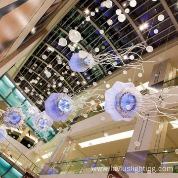 Multicoloured shopping mall suspended pendant light